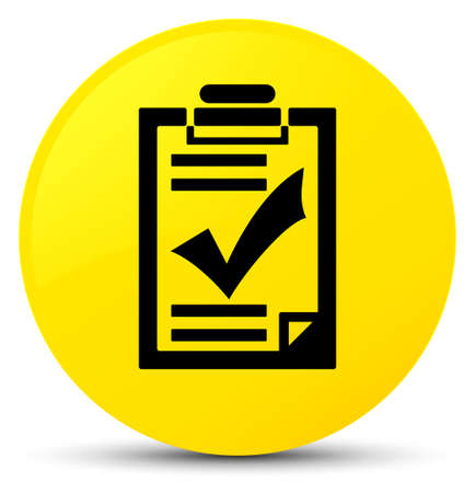 Checklist icon isolated on yellow round button abstract illustration