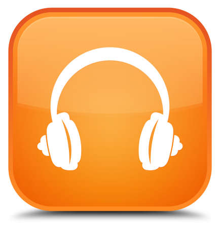 Headphone icon isolated on special orange square button abstract illustration