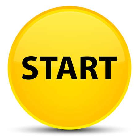 Begin op speciale gele ronde knoop abstracte illustratie die wordt geïsoleerd Stockfoto