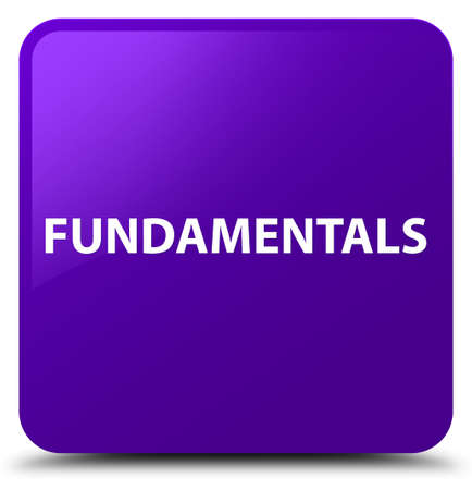 Fundamentals isolated on purple square button abstract illustration
