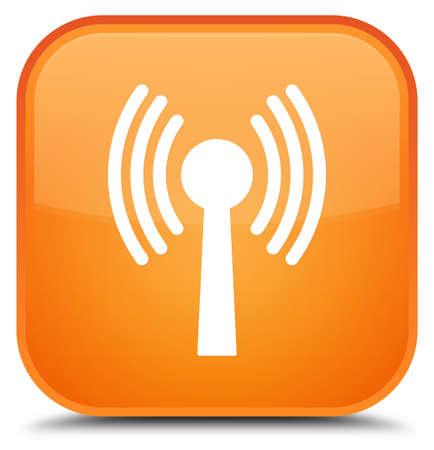 Icône de réseau WLAN isolé sur illustration abstraite spéciale bouton carré orange Banque d'images - 89527263