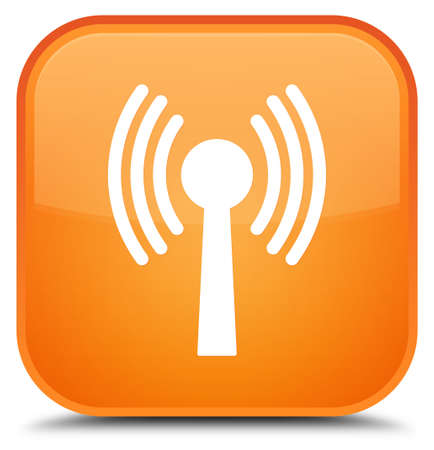 Wlan network icon isolated on special orange square button abstract illustration