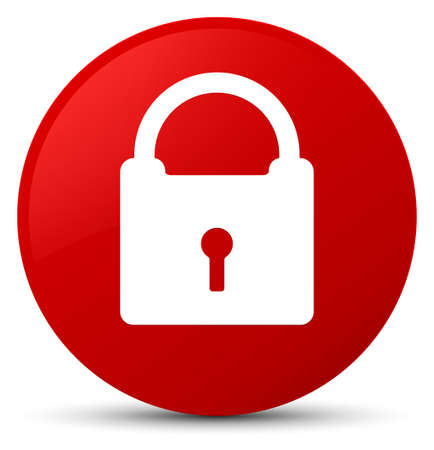 Padlock icon isolated on red round button abstract illustration