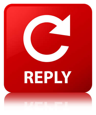 Reply (rotate arrow icon) isolated on red square button reflected abstract illustration