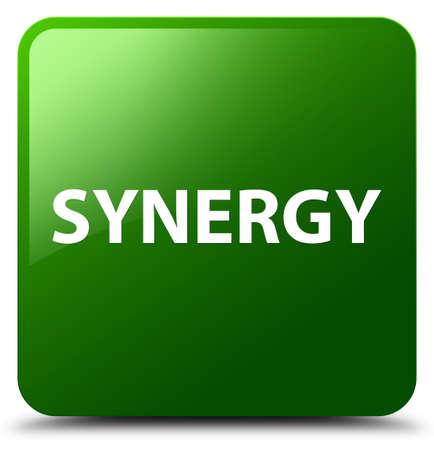 Synergie op groene vierkante knoop abstracte illustratie die wordt geïsoleerd