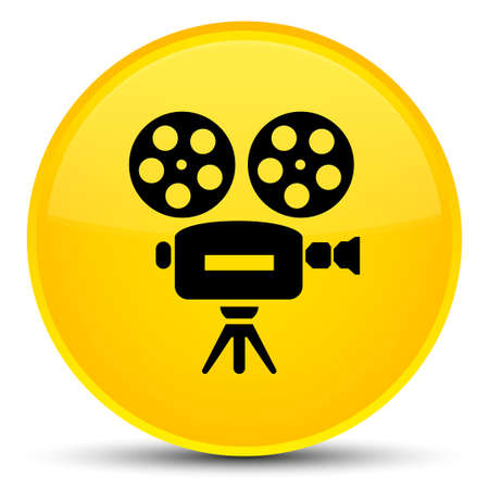 Video camera icon isolated on special yellow round button abstract illustration