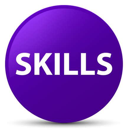 Skills isolated on purple round button abstract illustration Stock Photo