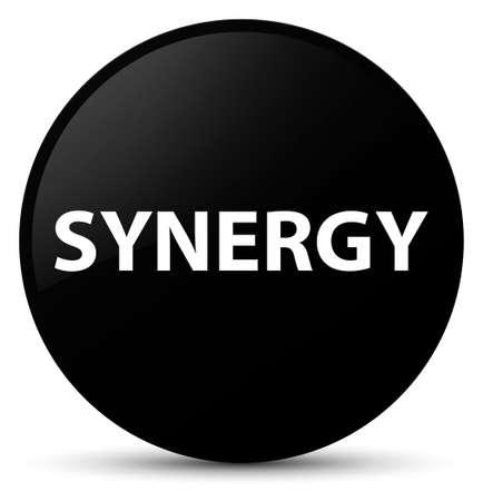 Synergie op zwarte ronde knoop abstracte illustratie die wordt geïsoleerd Stockfoto