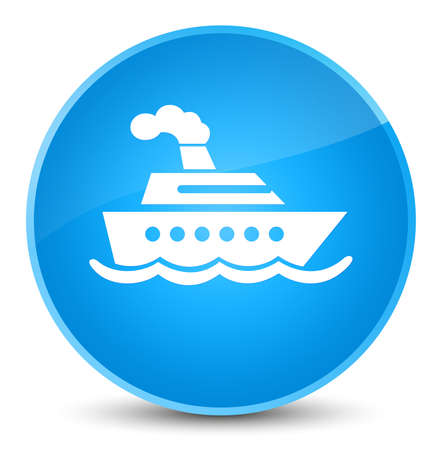 Cruise ship icon isolated on elegant cyan blue round button abstract illustration