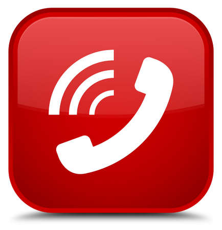 Phone ringing icon isolated on special red square button abstract illustration