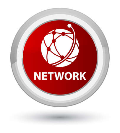 Network (global network icon) isolated on prime red round button abstract illustration