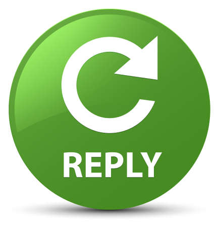 Reply (rotate arrow icon) isolated on soft green round button abstract illustration
