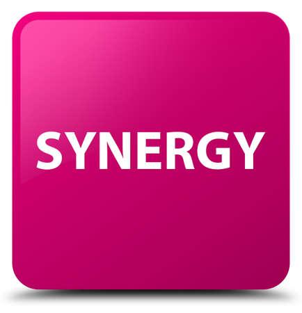 Synergie op roze vierkante knoop abstracte illustratie die wordt geïsoleerd Stockfoto