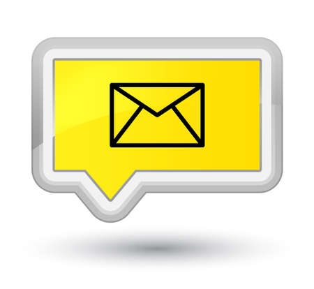 Email icon isolated on prime yellow banner button abstract illustration Stock Photo