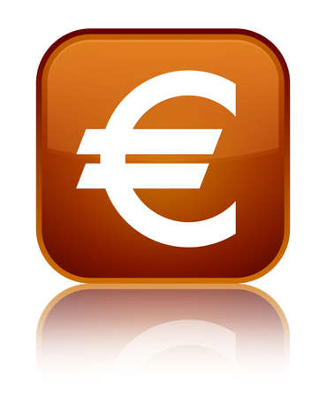 Euro sign icon isolated on special brown square button reflected abstract illustration Stock Photo