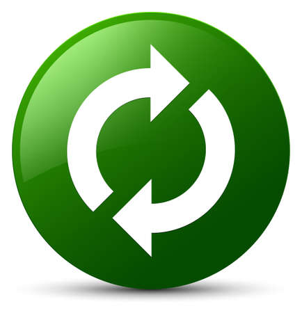 Update icon isolated on green round button abstract illustration
