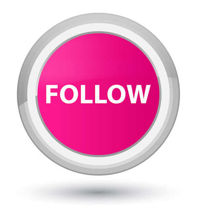 Follow isolated on prime pink round button abstract illustration Stock Photo
