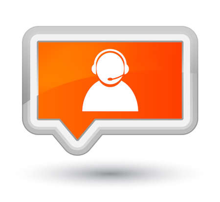 Customer care icon isolated on prime orange banner button abstract illustration