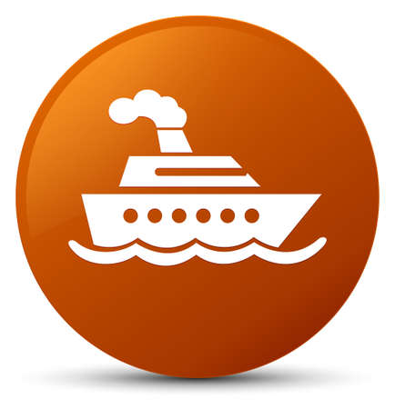 Cruise ship icon isolated on brown round button abstract illustration