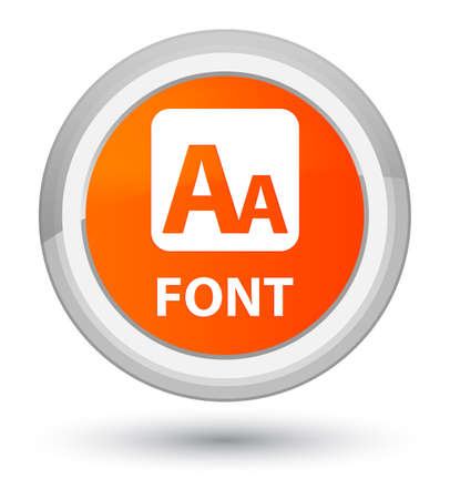 Font isolated on prime orange round button abstract illustration