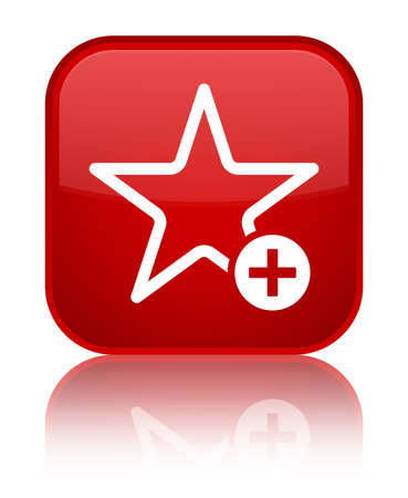 Add to favorite icon isolated on special red square button reflected abstract illustration
