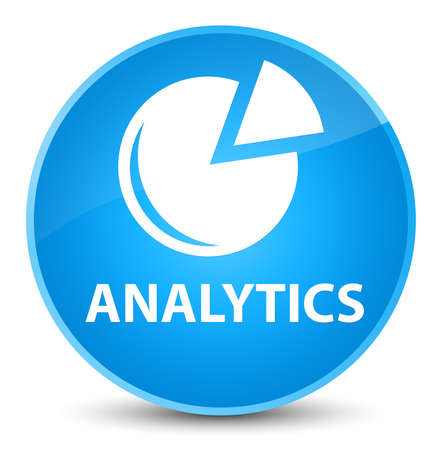 Analytics (graph icon) isolated on elegant cyan blue round button abstract illustration