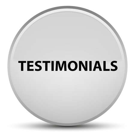 Testimonials isolated on special white round button abstract illustration