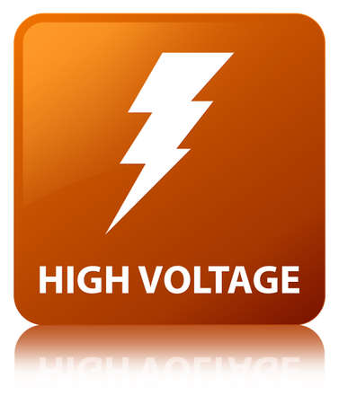 High voltage (electricity icon) isolated on brown square button reflected abstract illustration