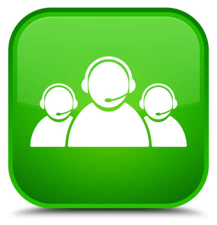 Customer care team icon isolated on special green square button abstract illustration Stock Photo