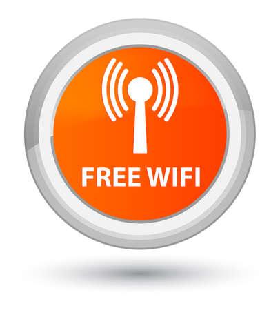 Free wifi (wlan network) isolated on prime orange round button abstract illustration Stock Photo