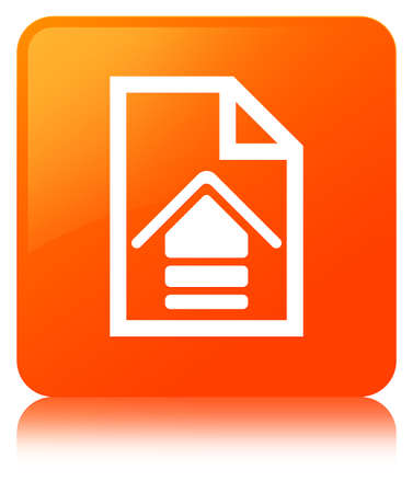 Upload document icon isolated on orange square button reflected abstract illustration Stock Photo