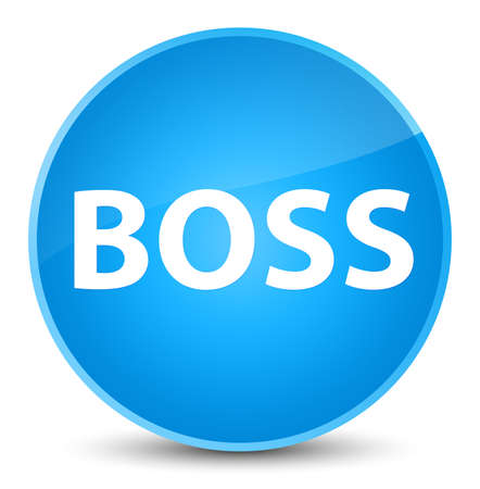 Boss isolated on elegant cyan blue round button abstract illustration
