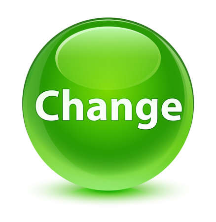 Change isolated on glassy green round button abstract illustration Stock Photo