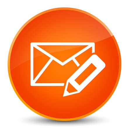 Edit email icon isolated on elegant orange round button abstract illustration