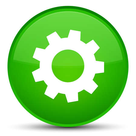 cogwheel: Process icon isolated on special green round button abstract illustration Stock Photo