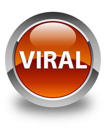 Viral isolated on glossy brown round button abstract illustration Stock Photo