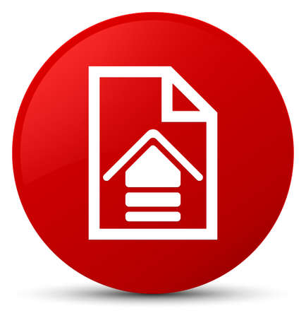 Upload document icon isolated on red round button abstract illustration Stock Photo