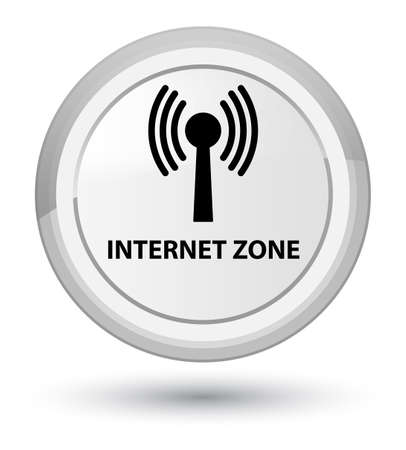 Internet zone (wlan network) isolated on prime white round button abstract illustration