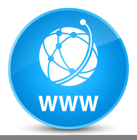 WWW (global network icon) isolated on elegant cyan blue round button abstract illustration