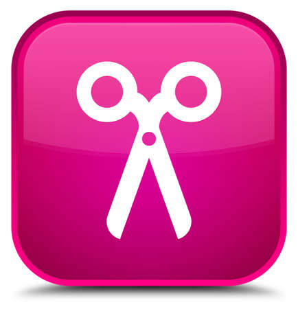 Scissors icon isolated on special pink square button abstract illustration