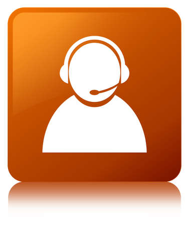 Customer care icon isolated on brown square button reflected abstract illustration
