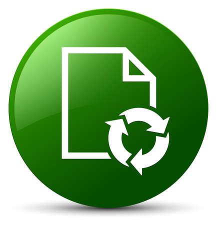Icono de proceso de documento aislado en la ilustración abstracta de botón redondo verde