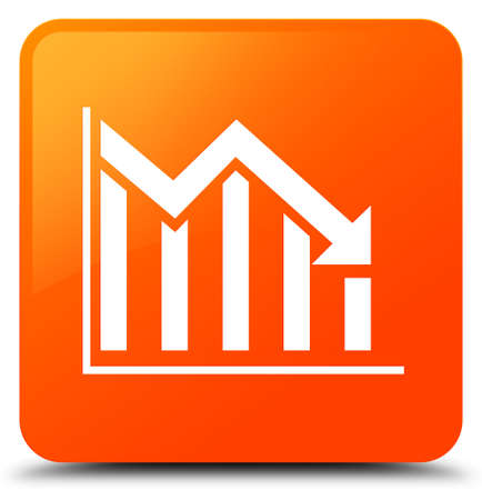 Statistics down icon isolated on orange square button abstract illustration Stock Photo