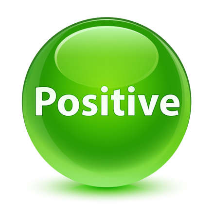 Positive isolated on glassy green round button abstract illustration Stock Photo