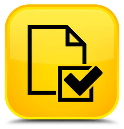 Checklist icon isolated on special yellow square button abstract illustration Stock Photo