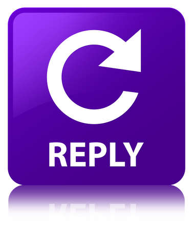 Reply (rotate arrow icon) isolated on purple square button reflected abstract illustration