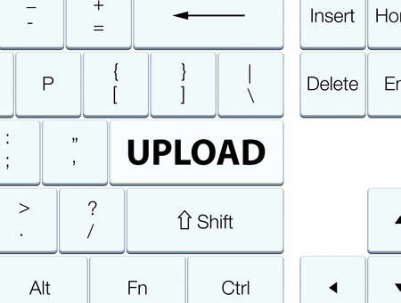 Upload isolated on white keyboard button abstract illustration