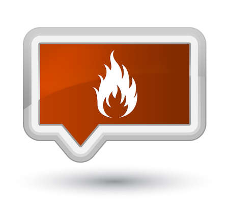 Fire icon isolated on prime brown banner button abstract illustration
