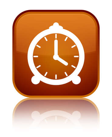 Alarm clock icon isolated on special brown square button reflected abstract illustration Stock Photo