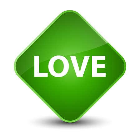 Love isolated on elegant green diamond button abstract illustration